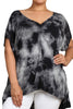 Womens PLUS SIZE Black & Gray Short Sleeve Tie Dye Top