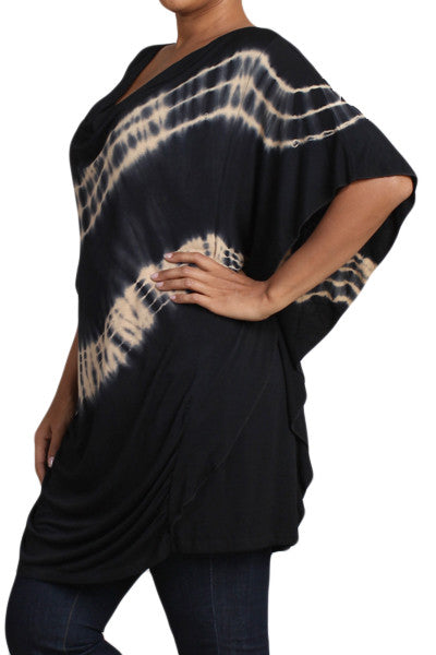 Womens PLUS SIZE Black & Taupe HAND DYED Tie Dye Cowl Neck Top