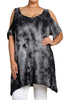 Womens Sexy PLUS SIZE Black & Gray Cold Shoulder Tie Dye High Low Tunic Shirt Top