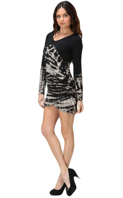 Womens Sexy Black & Biege Tan Tie Dye Long Sleeve Mini Dress