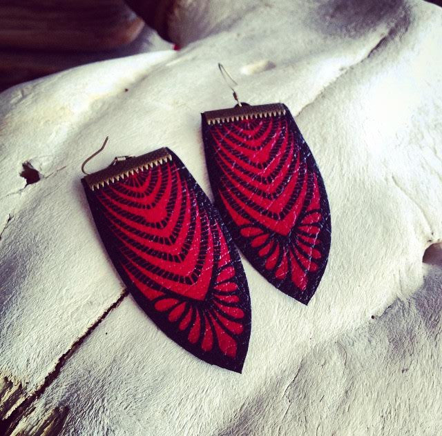 "Hand Made Artist Crafted Leather ""Wicked Lace"" Earrings in Burgundy Red"