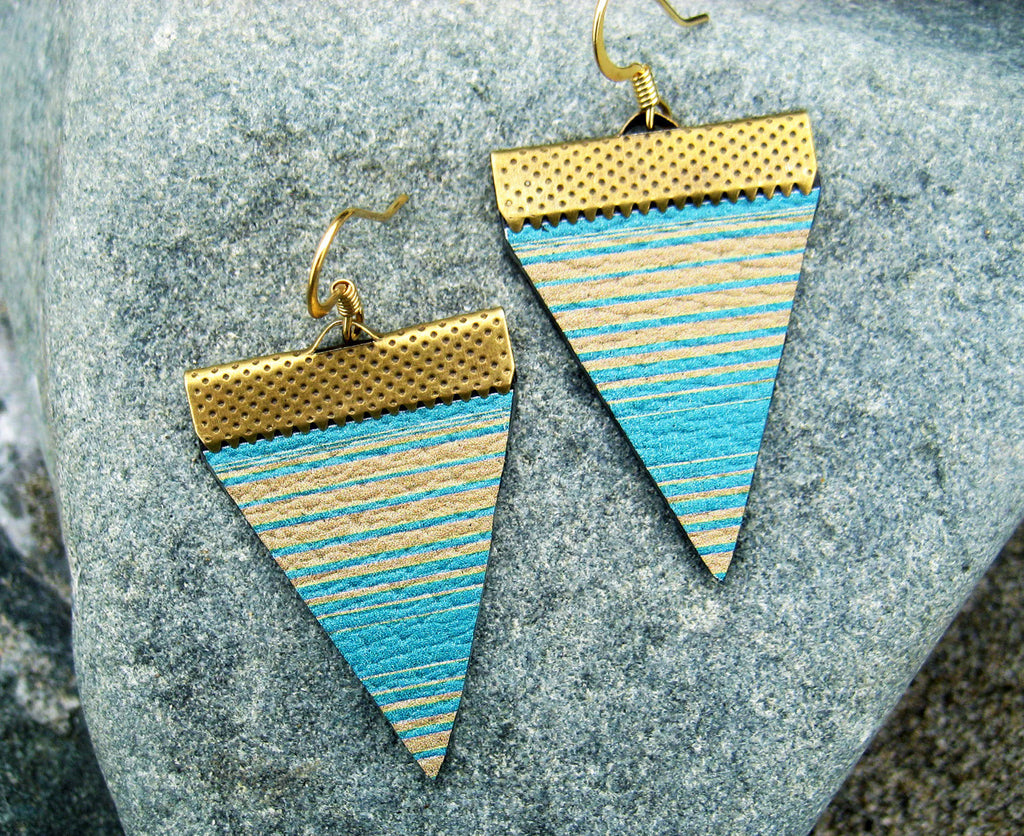 "Hand Made Artist Crafted Leather ""Baja Lines"" Earrings in Tan/Turquoise"