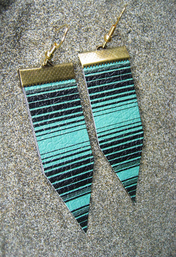 "Hand Made Artist Crafted Leather ""Baja Lines"" Earrings in Teal"