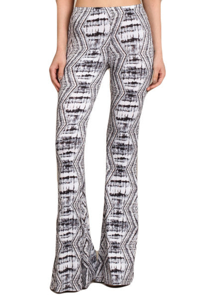 Womens Gray & White Tribal Print High Rise Stretch Bell Bottom Pants
