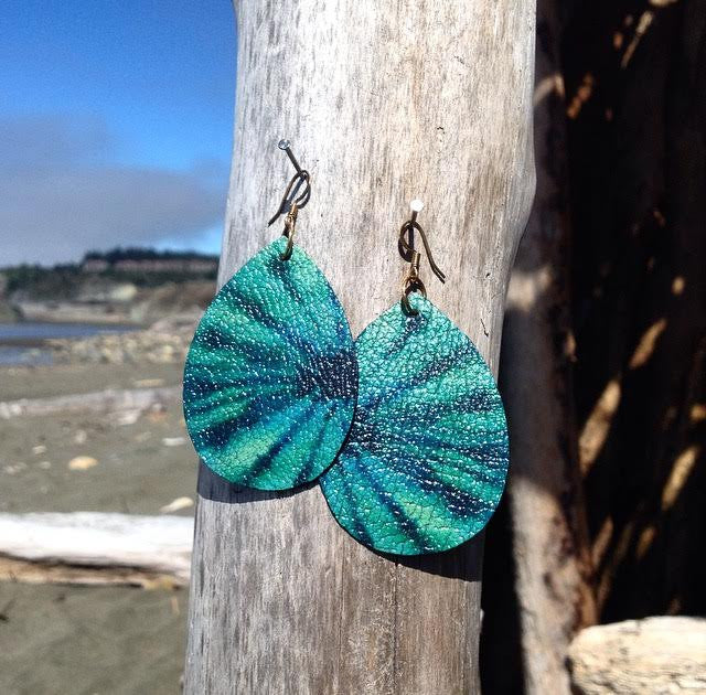 "Hand Made Artist Crafted Leather ""Love Street"" Earrings in Teal Tie Dye"
