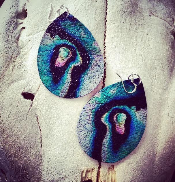"Hand Made Artist Crafted Leather ""Mermaid Abalone"" Earrings"