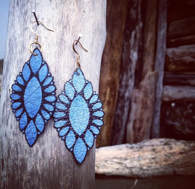"Hand Made Artist Crafted Leather ""Native Bloom"" Earrings in Lavender"