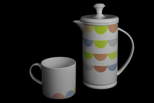 "Bow-handle Porcelain French Press & Mug Set featuring ""HalfDot"" Artwork  French press & Mugs- The French Press Coffee Company"