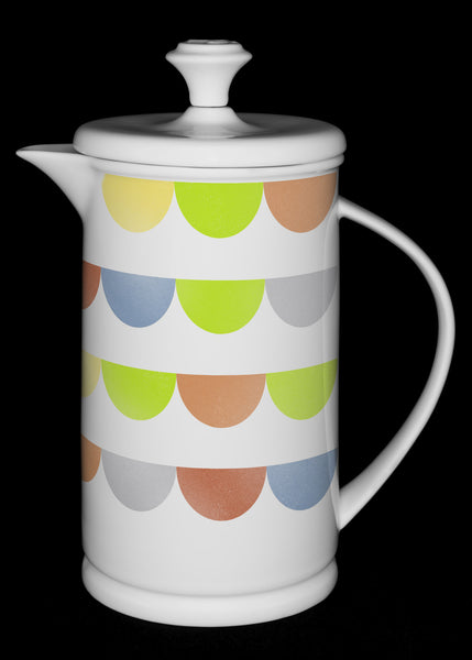 "Porcelain French Press with Bow-handle featuring ""HalfDot"" Artwork  French press- The French Press Coffee Company"