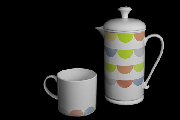 "Scroll-handle Porcelain French Press & Mug Set featuring ""HalfDot"" Artwork  French press & Mugs- The French Press Coffee Company"