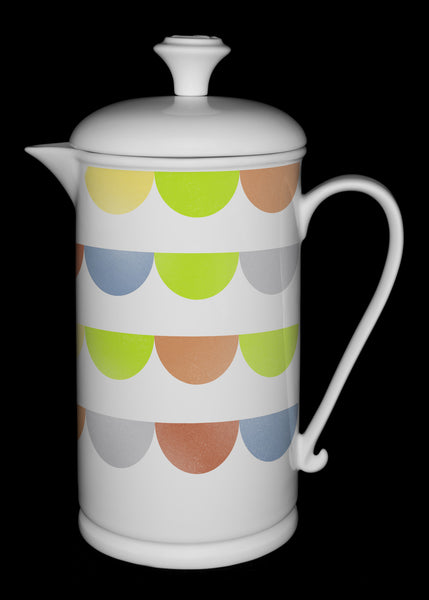 "Porcelain French Press with Scroll-handle featuring ""Half-Dot"" Artwork  French press- The French Press Coffee Company"