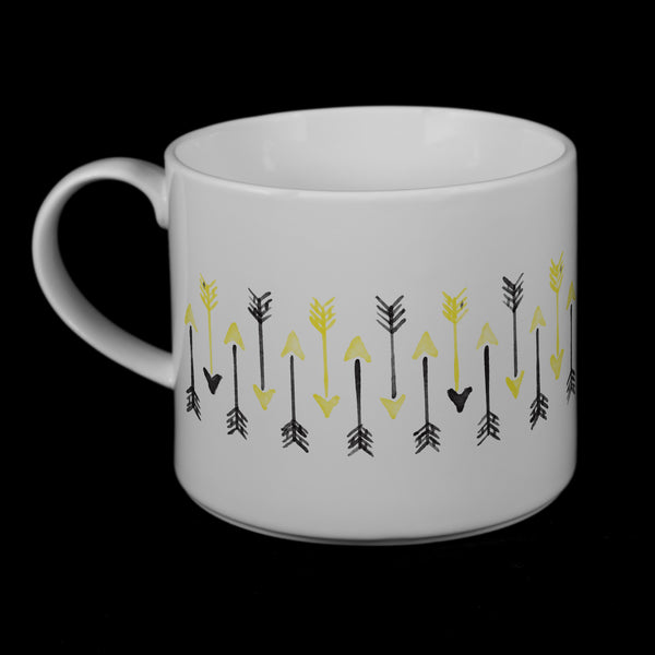 "Porcelain Mug featuring ""Hand-drawn Arrows"" Artwork • 2 Color Options  Porcelain Mugs- The French Press Coffee Company"