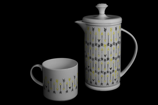 "Bow-handle Porcelain French Press & Mug Set featuring ""Hand-drawn Arrows"" Artwork  French press & Mugs- The French Press Coffee Company"