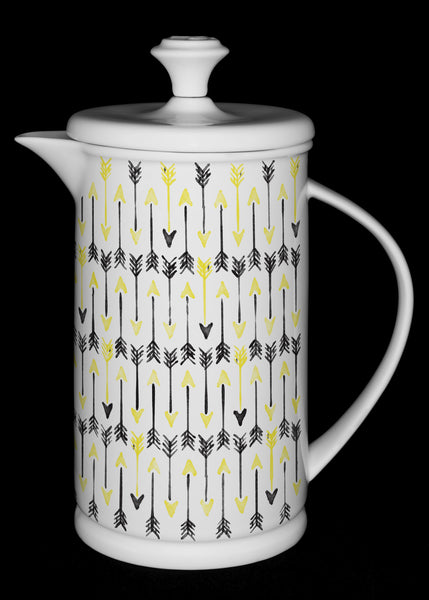"Porcelain French Press with Bow-handle featuring ""Hand-drawn Arrows"" Artwork  French press- The French Press Coffee Company"