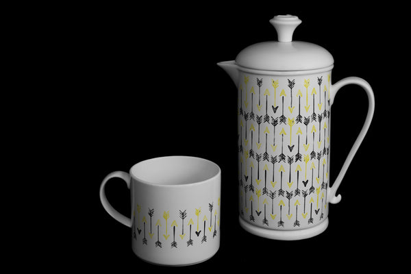 "Scroll-handle Porcelain French Press & Mug Set featuring ""Hand-drawn Arrows"" Artwork  French press & Mugs- The French Press Coffee Company"