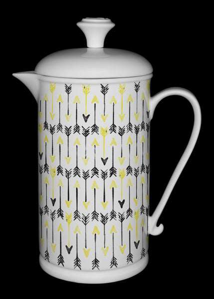 "Porcelain French Press with Scroll-handle featuring ""Hand-drawn Arrows"" Artwork  French press- The French Press Coffee Company"