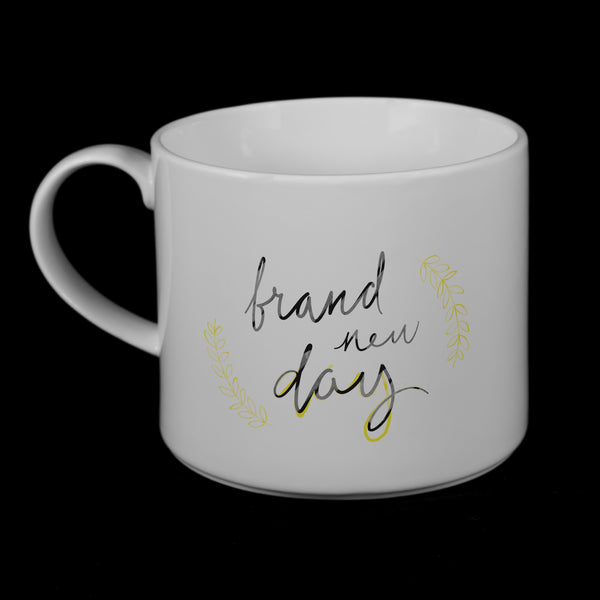 "Porcelain Mug featuring ""Brand New Day"" Artwork • 2 Color Options  Porcelain Mugs- The French Press Coffee Company"