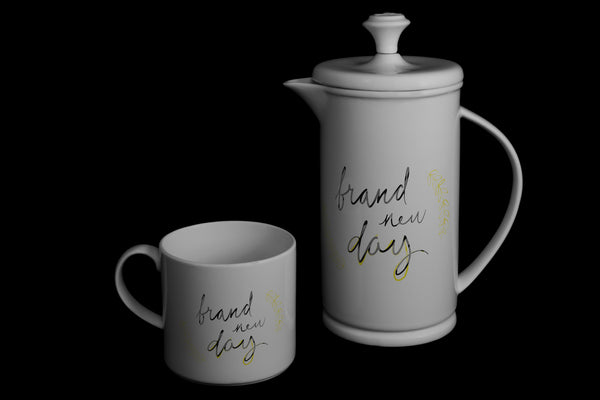 "Bow-handle Porcelain French Press & Mug Set featuring ""Brand New Day"" Artwork  French press & Mugs- The French Press Coffee Company"