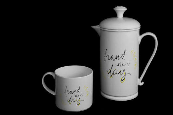 "Scroll-handle Porcelain French Press & Mug Set featuring ""Brand New Day"" Artwork  French press & Mugs- The French Press Coffee Company"