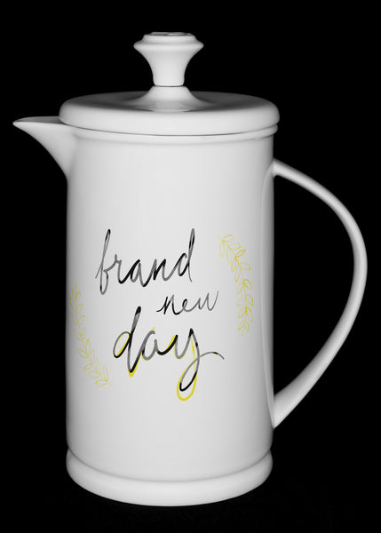 "Porcelain French Press with Bow-handle featuring ""Brand New Day"" Artwork  French press & Mugs- The French Press Coffee Company"