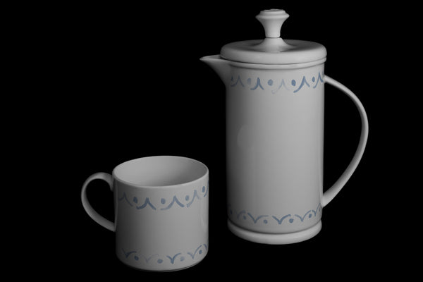 "Bow-handle Porcelain French Press & Mug Set featuring ""Borders"" Artwork  French press & Mugs- The French Press Coffee Company"
