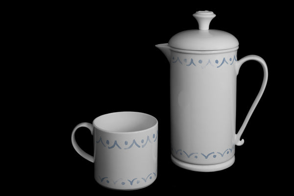 "Scroll-handle Porcelain French Press & Mug Set featuring ""Borders"" Artwork  French press & Mugs- The French Press Coffee Company"