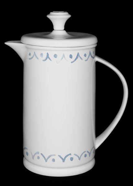 "Porcelain French Press with Bow-handle featuring ""Borders"" Artwork  French press- The French Press Coffee Company"