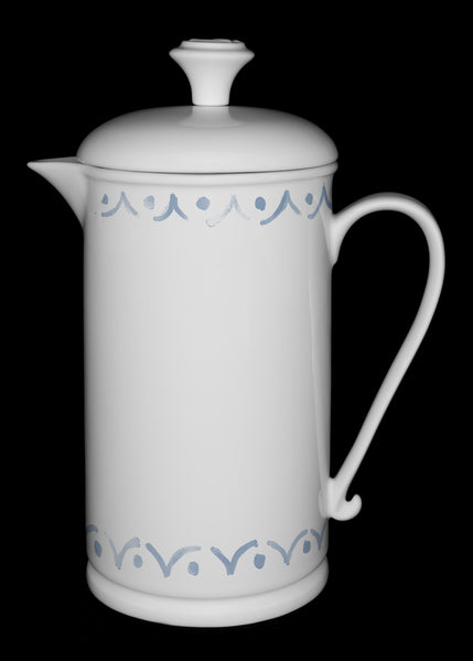"Porcelain French Press with Scroll-handle featuring ""Borders"" Artwork  French press- The French Press Coffee Company"