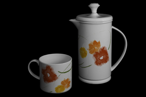"Bow-handle Porcelain French Press & Mug Set featuring ""Floriglee"" Artwork  French press & Mugs- The French Press Coffee Company"