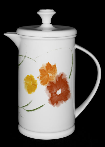 "Porcelain French Press with Bow-handle featuring ""Floriglee"" Artwork  French press- The French Press Coffee Company"