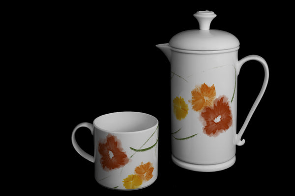 "Scroll-handle Porcelain French Press & Mug Set featuring ""Floriglee"" Artwork  French press & Mugs- The French Press Coffee Company"
