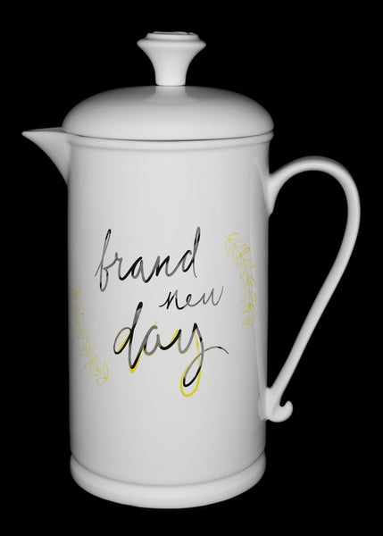 "Porcelain French Press with Scroll-handle featuring ""Brand New Day"" Artwork  French press- The French Press Coffee Company"