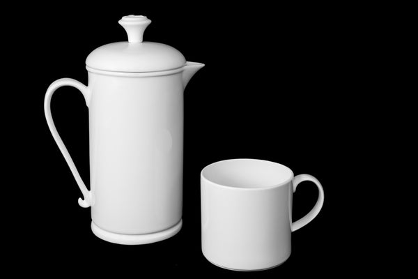 White Porcelain Scroll-handle French Press & Mug Set  French press- The French Press Coffee Company