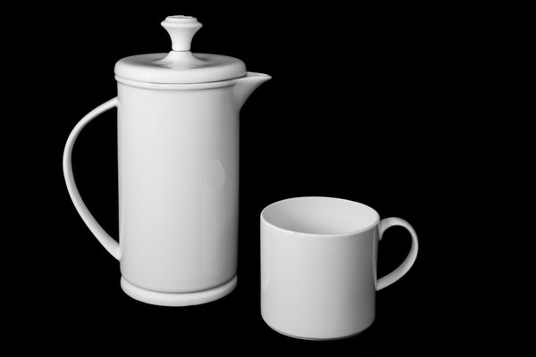 White Porcelain Bow-handle French Press & Mug Set  French press & Mugs- The French Press Coffee Company