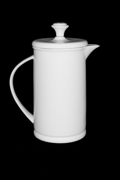 White Porcelain French Press with Bow-handle  French press- The French Press Coffee Company