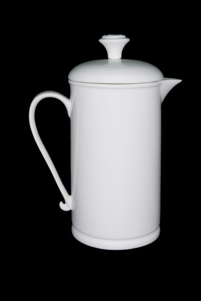 White Porcelain French Press with Scroll-handle  French press- The French Press Coffee Company