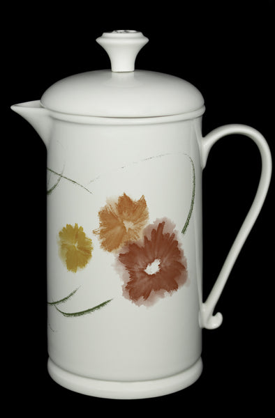 "Porcelain French Press with Scroll-handle featuring ""Floriglee"" Artwork  French press- The French Press Coffee Company"