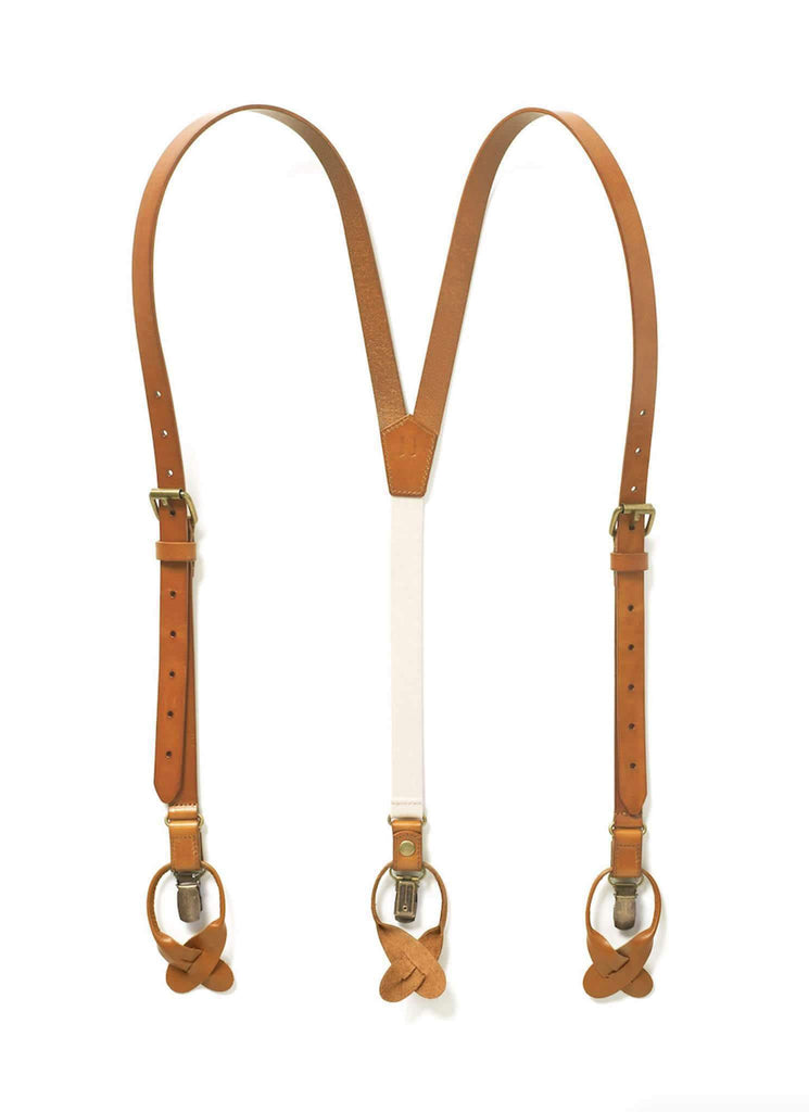 Sierra Nevada - Dark Tan Leather Suspenders - JJ Suspenders