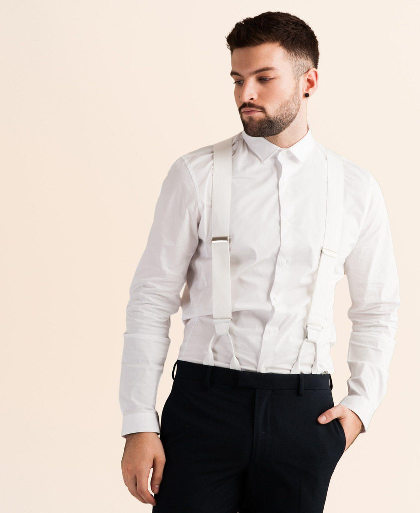 Alabaster Lite - Formal White Suspenders - JJ Suspenders