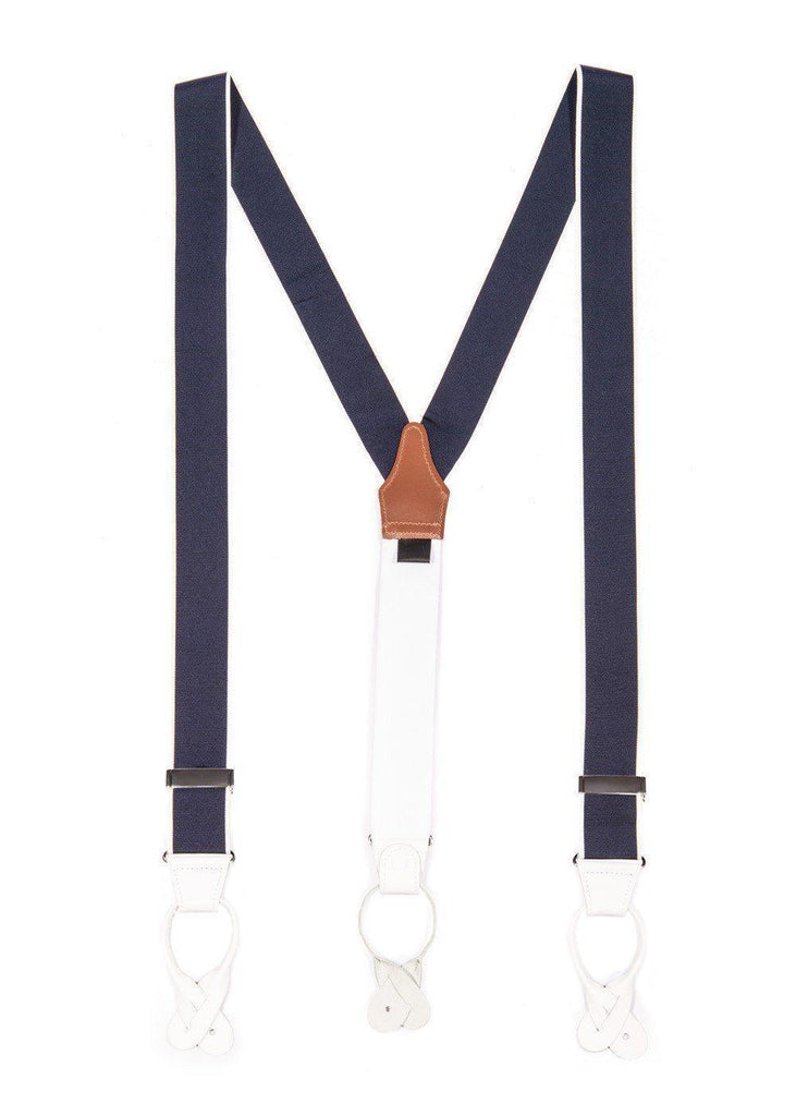All Aboard - Navy & White Sailor Suspenders (Button-on)