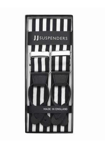 Bar None - Black & White Striped Suspenders-Taggs