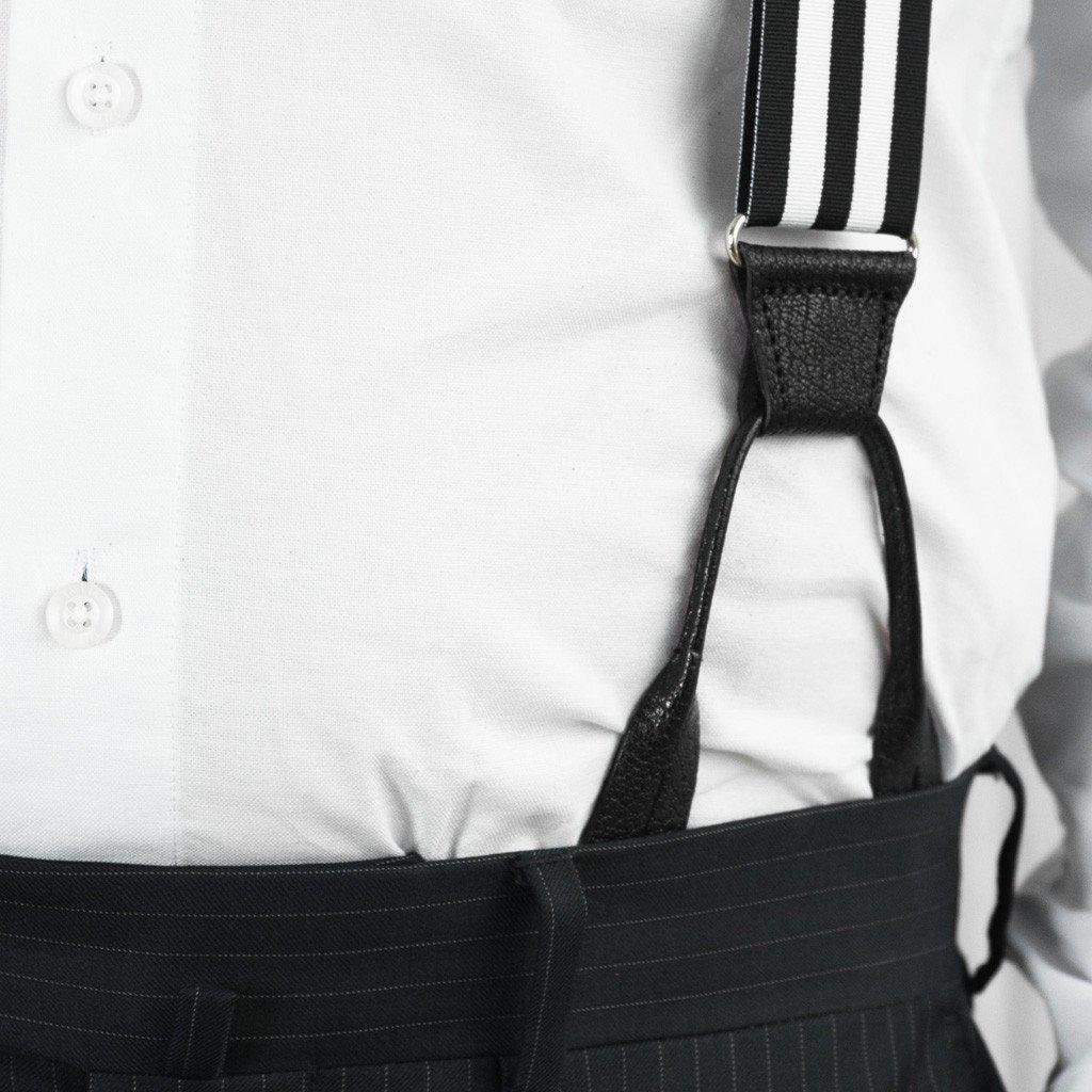 Bar None - Black & White Striped Suspenders (Button-on)