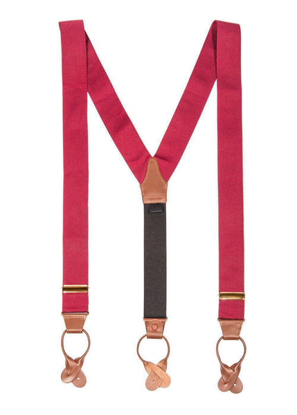 Berry Dramatic - Classic Burgundy Suspenders (Button-on)