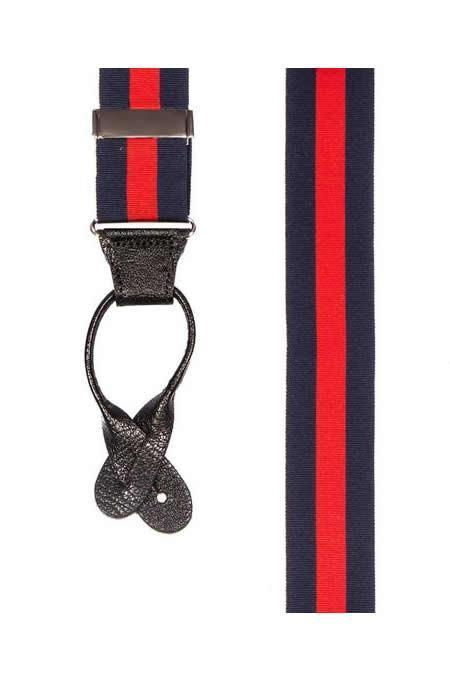 Cherry Bomb - Navy & Red Striped Suspenders - JJ Suspenders