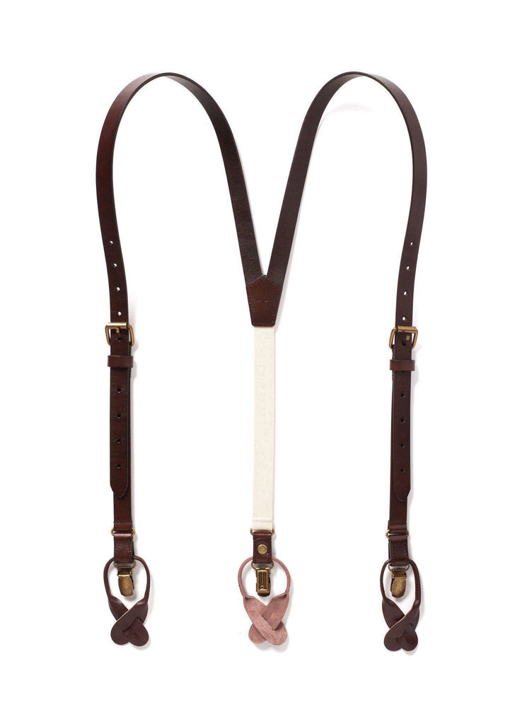 Chestnut Java - Brown Leather Suspenders - JJ Suspenders