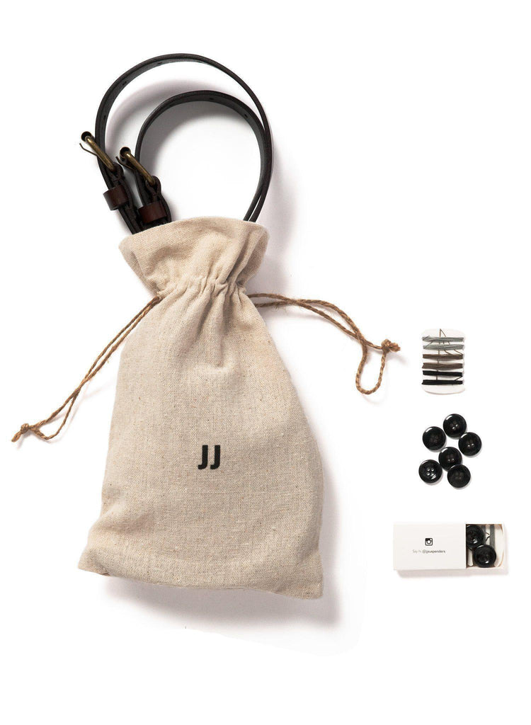 Chestnut Java (Kids) - Brown Leather Suspenders - JJ Suspenders