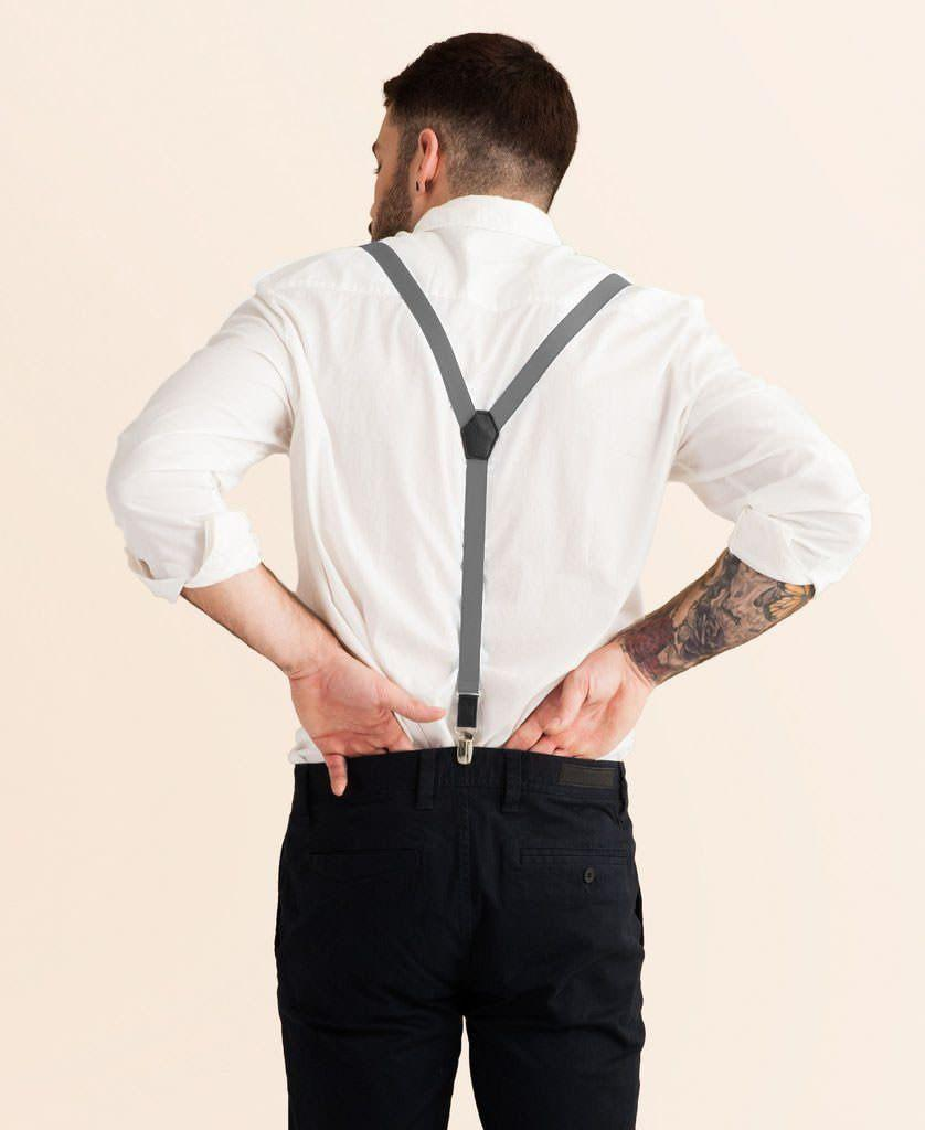 Cool Steel - Skinny Grey Suspenders - JJ Suspenders