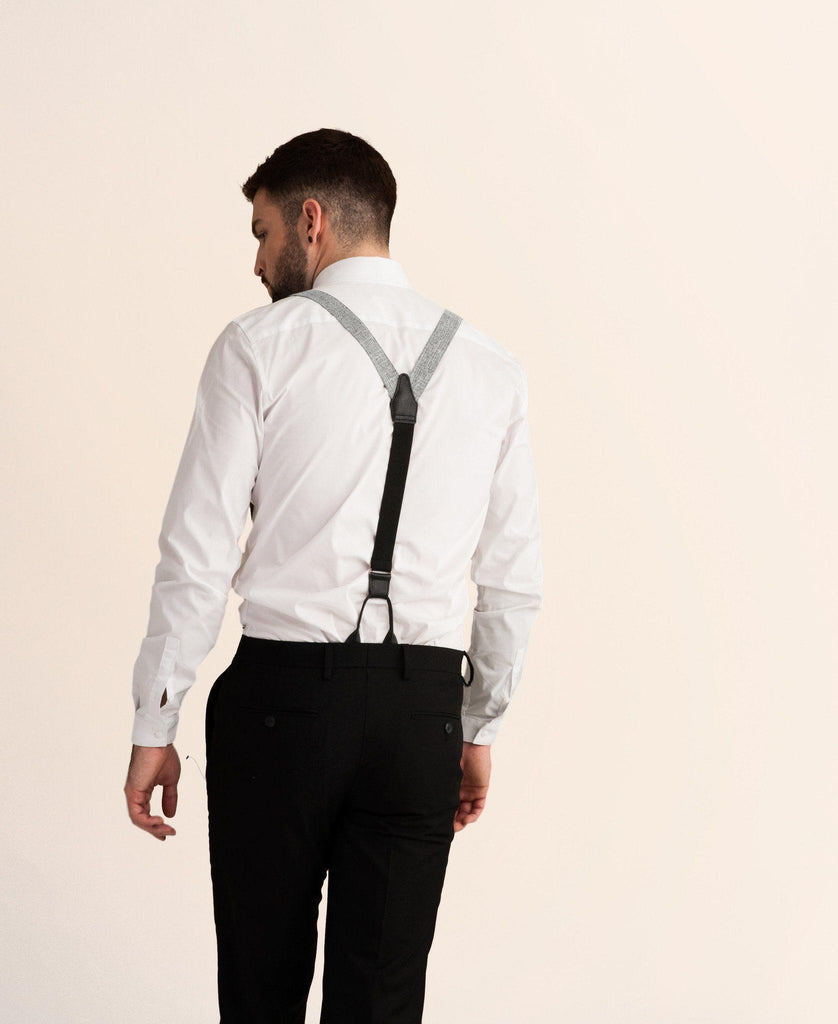 Criss Cross - Grey Crosshatch Suspenders - JJ Suspenders