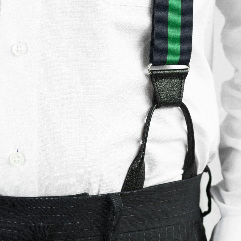 Emerald Envy - Navy & Green Striped Suspenders - JJ Suspenders