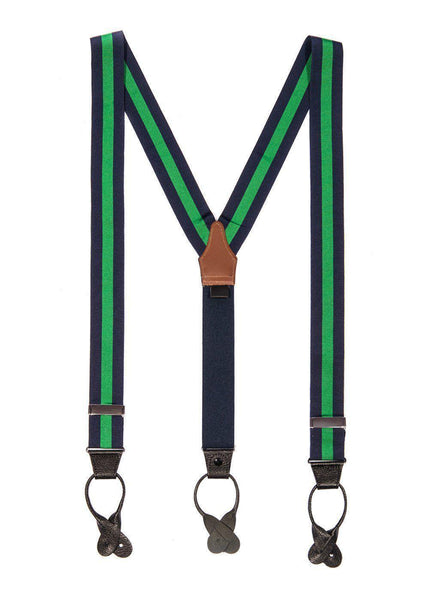 Emerald Envy - Navy & Green Striped Suspenders (Button-on)
